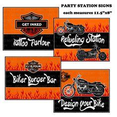 Harley Davidson Birthday Party station signs