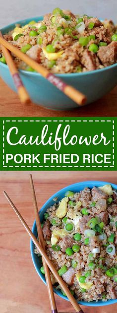 Pork fried cauliflower rice is a healthy take on Chinese take-out. This easy 30 minute dinner is low carb Keto Paleo and compliant as well. Best foods and diet plan for pre-diabetes and diabetes home remedies Diabetes Tipo 1, Cauliflower Fried Rice, Cauliflower Recipes, Keto Diet Breakfast, Low Carb Keto, Easy Dinner Recipes, Beef Recipes, Chinese, Whole30