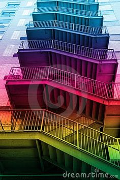Rainbow stairs...I want to live there!