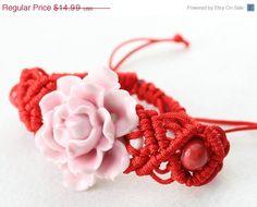 Christmas Sale Pink china flower bracelet by dermusensohn2000, $11.24