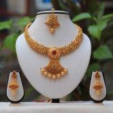 Gorgeous Gold Plated Cz Kundan Stone Necklace Set