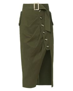 Shop the Self-Portrait Military Button-Down Skirt