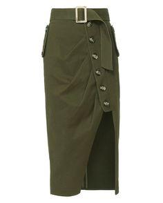 Shop the Self-Portrait Military Button-Down Skirt