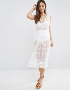 New Look Sheer Lace Midi Beach Dress