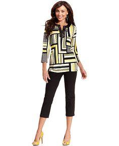 JM Collection Tunic Top & Straight-Leg Capris - Womens JM Collection - Macy's