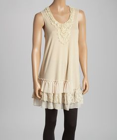 This Caramel Embellished Ruffle Silk-Blend Tunic by Pretty Angel is perfect! #zulilyfinds