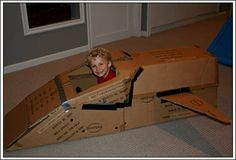 Space Fighter made of cardboard boxes