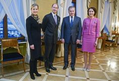 royalista: Visit to Finland, February Earl and Countess of Wessex with Finnish President Sauli Niinistö and First Lady Jenni Haukio at the presidential palace in Helsinki. Prince Edward, Prince Philip, Finland Trip, Viscount Severn, Lady Louise Windsor, Second Child, Couple Posing, Queen Elizabeth Ii, British Royals