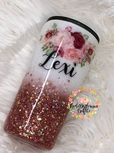 Glitter Azul, Glitter Rosa, Glitter Flowers, Glitter Cups, Glitter Vinyl, Glitter Nails, Diy Tumblers, Custom Tumblers, Glitter Tumblers