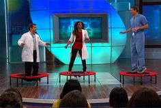 """Even """"The Doctors"""" have caught on to the amazing benefits of rebounding. 7 minutes of rebounding is equivalent to about 35 minutes of running - and it detoxes your lymphatic system at the same time. Now that's important for both the cancer patient and anyone who wants to prevent cancer!"""
