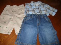 Mouse over image to zoom  Have one to sell? Sell it yourself  Boys Shorts Lot OSHKOSH & CARTERS Button Down Shirt Khaki Alligator SZ 6 Church $10.99