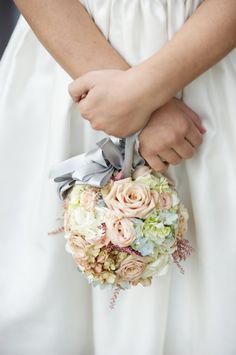 Pomander Wedding Bouquet - a flower covered ball shape tied with a ribbon. The same type of flowers can be arranged evenly to make the ball shaped design symmetrical. Flower Girls, Flower Girl Bouquet, Flower Girl Basket, Flower Girl Dresses, Bridesmaid Flowers, Bride Bouquets, Bridal Flowers, Bridesmaids, Flower Ball