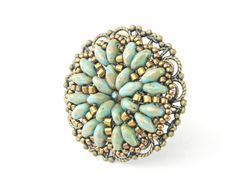 New color!!! Beaded filigree ring adjustable vintage style