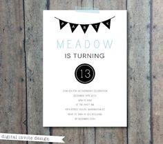 Teen or tween birthday invitation - Modern bunting party invitation - kids birthday invitation sleepover teenage invitation