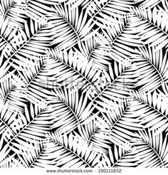 Seamless pattern with tropical palm leaves. Vector seamless pattern with leafs inspired by tropical nature and plants like palm trees and ferns in black and white colors. Palm Tree Leaves, Palm Trees, Tropical Leaves, Bonsai Tree Tattoos, Safari, Jungle Pattern, Cool Tree Houses, Thing 1, Leaves Vector