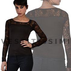 Maglia maglietta donna maniche lunghe pizzo aderente sottogiacca sexy top  M19 1368949bb89