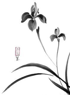 Original Japanese art Serene irises sumi-e drawing by ZenPresent