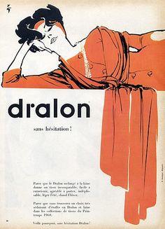 Dralon (Textile) 1959 René Gruau Fashion Illustration