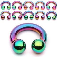 Sale Rainbow Titanium IP Over Surgical Steel Circular Barbell Cartilage Ring, Piercing, Ear Gauges, Nipple Rings, Lip Rings, Circular Barbell, Labret, Body Jewelry, Rainbow