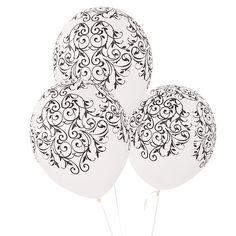 Latex Black & White Flourish Balloons - OrientalTrading.com