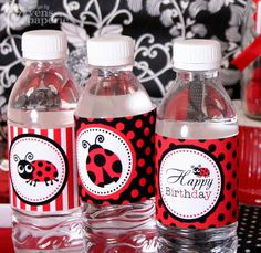 Red Ladybug Birthday Party - PRINTABLE Water Bottle Drink Label $5 on Etsy