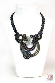 Dusk artistic statement necklace by Dori Csengeri  #doricsengeri #statementnecklace #greynecklace #designerjewelry