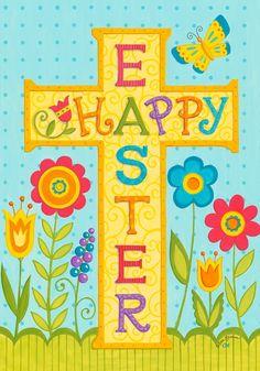 Happy Easter Religious | Happy Easter Religious Cross Tulip House Flag 28 x 40