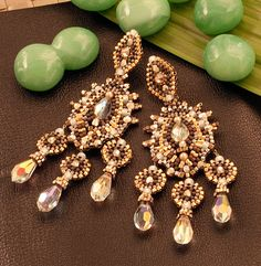 Swarovski and Gold Fill Swarovski Crystal Statement Earrings Beaded by Esther Marker
