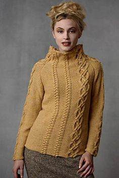 Asymmetrical Cable Pullover  by Teva Durham    Published in   Loop-d-Loop by Teva Durham, Volume 3 (Tahki Stacy Charles)