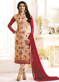 Rahi Fashion - Prachi Desai Red and Beige Glorious Magicle Brasho Floral Work Salwar Kameez Designer Anarkali Dresses, Designer Salwar Suits, Pakistani Dresses, Bollywood Dress, Bollywood Fashion, Bollywood Suits, Patiyala Dress, Salwar Kameez Online Shopping, Designer Suits Online