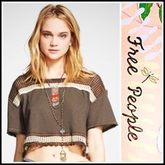 """Free People Crop Top Cropped 💟NEW WITH TAGS💟 Retail: $78 Free People Cropped Tee SIZING- S = 4 - 6 * A cropped style * Incredibly soft knit fabric & open weave detail * Short wide sleeves & an envelope open back , semi backless style  * About 17"""" long  * Relaxed fit; Festival Ready  Fabric: Cotton, polyester, & rayon blend; Machine wash Color: Deep Mocha Striped   Item:FP91900 Eyelet 🚫No Trades🚫 ✅ Offers Considered*✅ *Please use the blue 'offer' button to submit an offer. Free People…"""