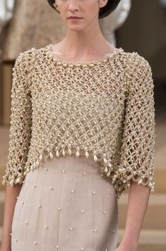 Style of Westeros: Stock Photo - Jeyne Westerling – Chanel Haute Couture Spring 2016 - Chanel Couture, Crochet Blouse, Crochet Top, Designer Wear, Designer Dresses, Women Wear, Ladies Wear, Clothes For Women, Stylish
