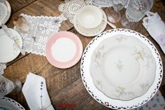 Vntage pink china rental, lace doily runner, clear stemware, silver flatware and napkins from  Vintage rentals