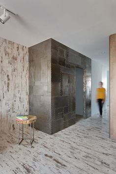 Apartment Light Brown Distressed Floors Habby Industrial Apartment Reclaimed Wooden Piece Stool Metal Laminate Wall Industrial And Scruffy Stylish Bachelor's Apartment