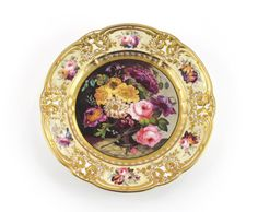 A fine London-decorated Nantgarw plate c.1820, painted perhaps by Moses Webster at Robin and Randall with a vase spilling over with flowers, resting on a marble ledge, the C-scrolled border picked out in gilt and painted with further small flower sprays on a buttermilk ground, impressed Nantgarw CW, 25.3cm.