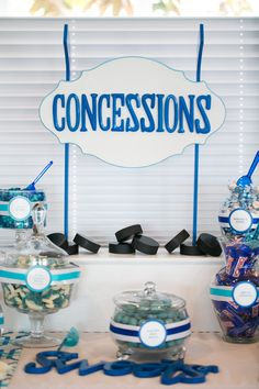 Candy buffet with a Concessions sign like at a game… Softball Wedding, Basketball Wedding, Sports Wedding, Golf Wedding, Wedding Candy, Hockey Birthday Parties, Hockey Party, Ice Hockey, Baby Shower Themes