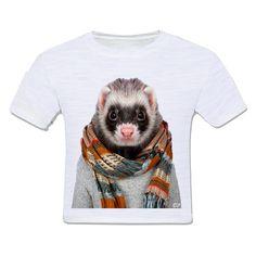 camiseta infantil moda criança animais de estimação animal roupinha ferret furão