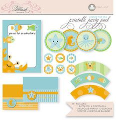 Printable Party Pack - Under the Sea (blush printables) Tags: birthday wedding party modern diy patterns pirates graduation announcement packaging pdf posh template seacreatures partyfavor printables printable themeparties weddingfavor blushprintables