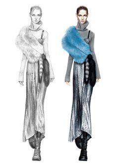 Alessia Zambonin - Istituto Marangoni Fashion Illustration, sketch and rendering #MiuMiu #Valentino #TracyReese #fashionsketch #womanfashion #fashiondrawing #pantone #copic #fashionillustration #fashionmodel #girl #fur #sequence #paillettes #combatboots