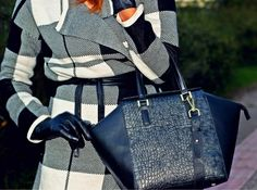 tote bag, leather gloves and plaid http://pearlsandrosesdiary.blogspot.gr/2014/12/plaid-morning.html