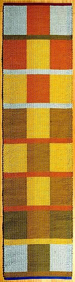 Mazurka, Handwoven runner, Claudia Mills--cotton yarns and fabric strips, 2' x 8'