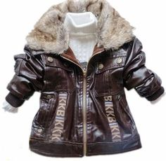Brown Leather Jacket for Boys with Warm Fur Collar Motorcycle | Rudelyn's Sari Sari Store