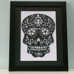 Papercut sugar skull original unframed by floppsiemoppsie on Etsy, £30.00