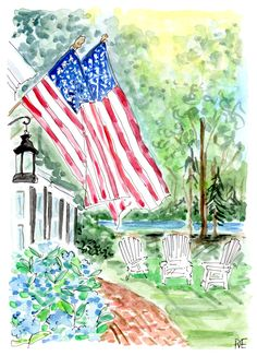 From red bandanas, white sparklers, and blueberry pie.we're wishing you a Happy Fourth of July! Happy Fourth Of July, 4th Of July, Watercolor Cards, Watercolor Paintings, Watercolours, Floral Event Design, Usa Tumblr, Sparklers, Holidays And Events