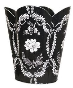 Black Provencial Decoupage Wastebasket with Optional Tissue Box. Product in photo is from www.wellappointedhouse.com