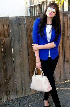 Cobalt Blue Blazer and Black Pants #blazer #tallgirlfashion #tall
