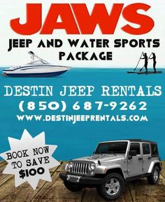 Destin and 30A Jeep Rentals and Water Sports EVERYTHING you need on your vacation package. Beach Jeep, Panama City Beach, Vacation Packages, Water Sports