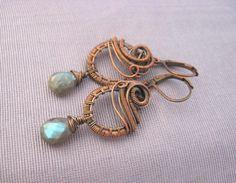 Labradorite Solid Antique Copper Gemstone Earrings Blue Green Flash | stonesforthesoul - Jewelry on ArtFire