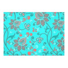 Red Teal Aqua Beautiful Indian Floral Cotton Linen Tablecloth 60