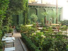 Interior garden at Madrid's Romantic Museum Café